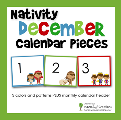 Nativity Pocket Chart Calendar Cards