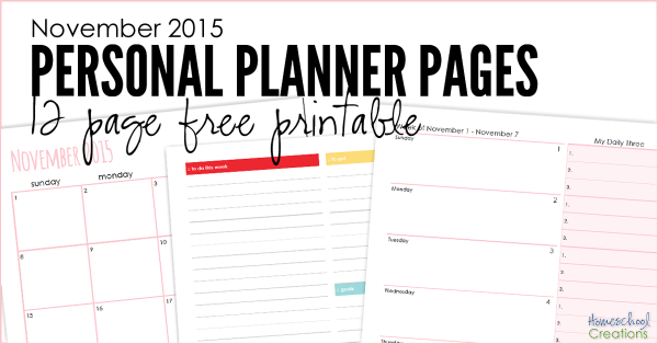 November 2015 personal planning pages - 12 pages to organize your month || HomeschoolCreations_edited-2