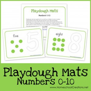 Number playdough mats from 0 through 10 - Homeschool Creations