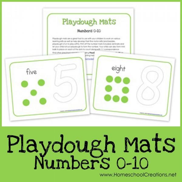 Number playdough mats from 0 through 10 - Homeschool Creations