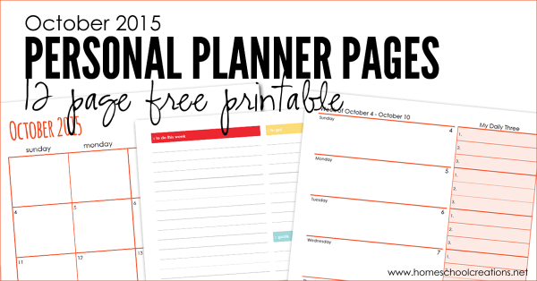 October 2015 personal planning pages - 12 pages to organize your month || HomeschoolCreations