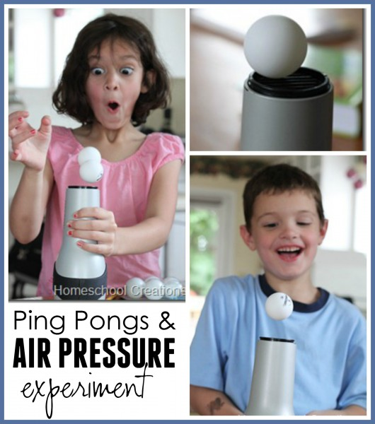 Ping pongs and air pressure experiment Homeschool Creations