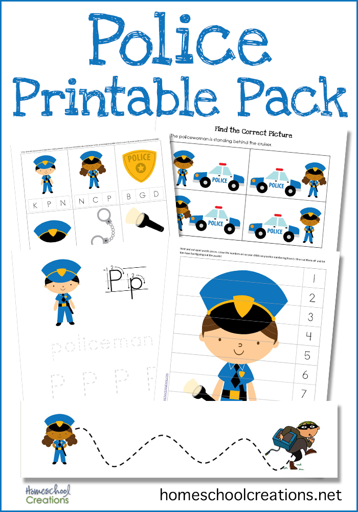 Police Printable Pack ~ Free Early Learning Printables