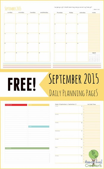 September 2015 Daily Planning Pages printable from Homeschool Creations-1