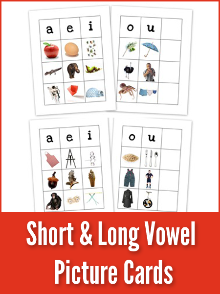 Short and long vowel picture cards