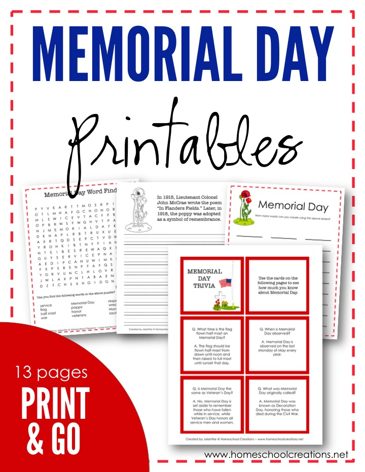 Gratifying image regarding memorial day printable activities