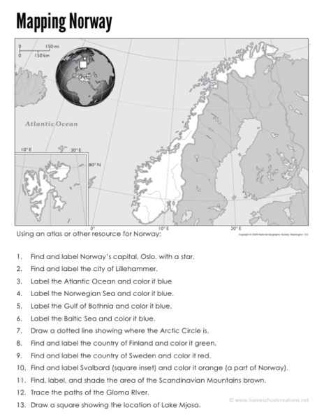 A Norwegian Flag Information Sheet And Notebooking Page