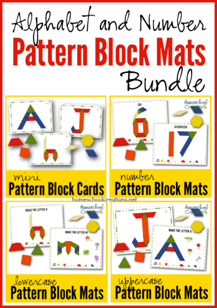 Pattern block mats and cards new printables purchase the pattern block letter and number mats bundle 600 spiritdancerdesigns Image collections