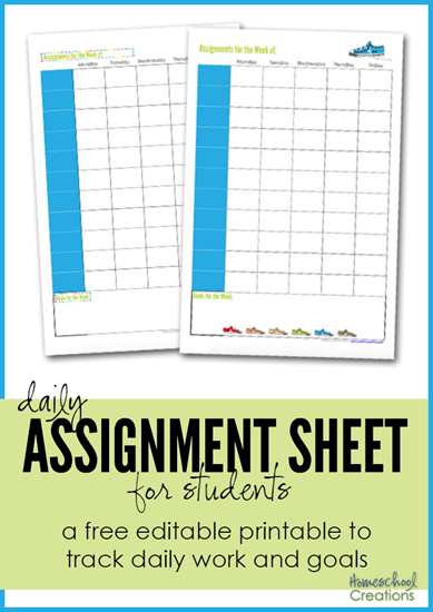 assignment sheet for students - a free editable printable from Homeschool Creations to track daily work and goals_edited-1