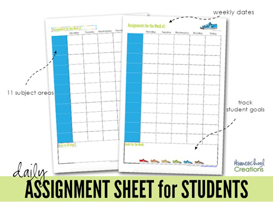 assignment sheet for students from Homeschool Creations