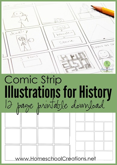 comic strip illustrations for history - 12 page printable download Homeschool Creations