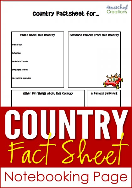 country fact sheet notebooking page for geography studies