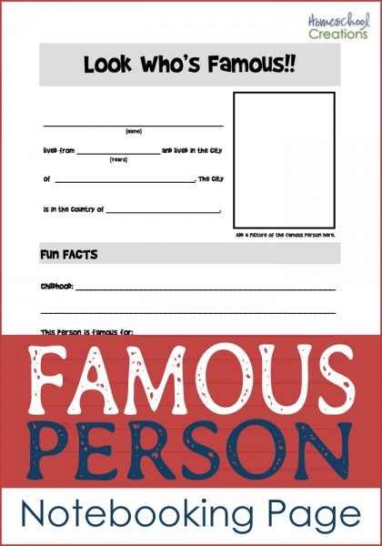 famous person notebooking page