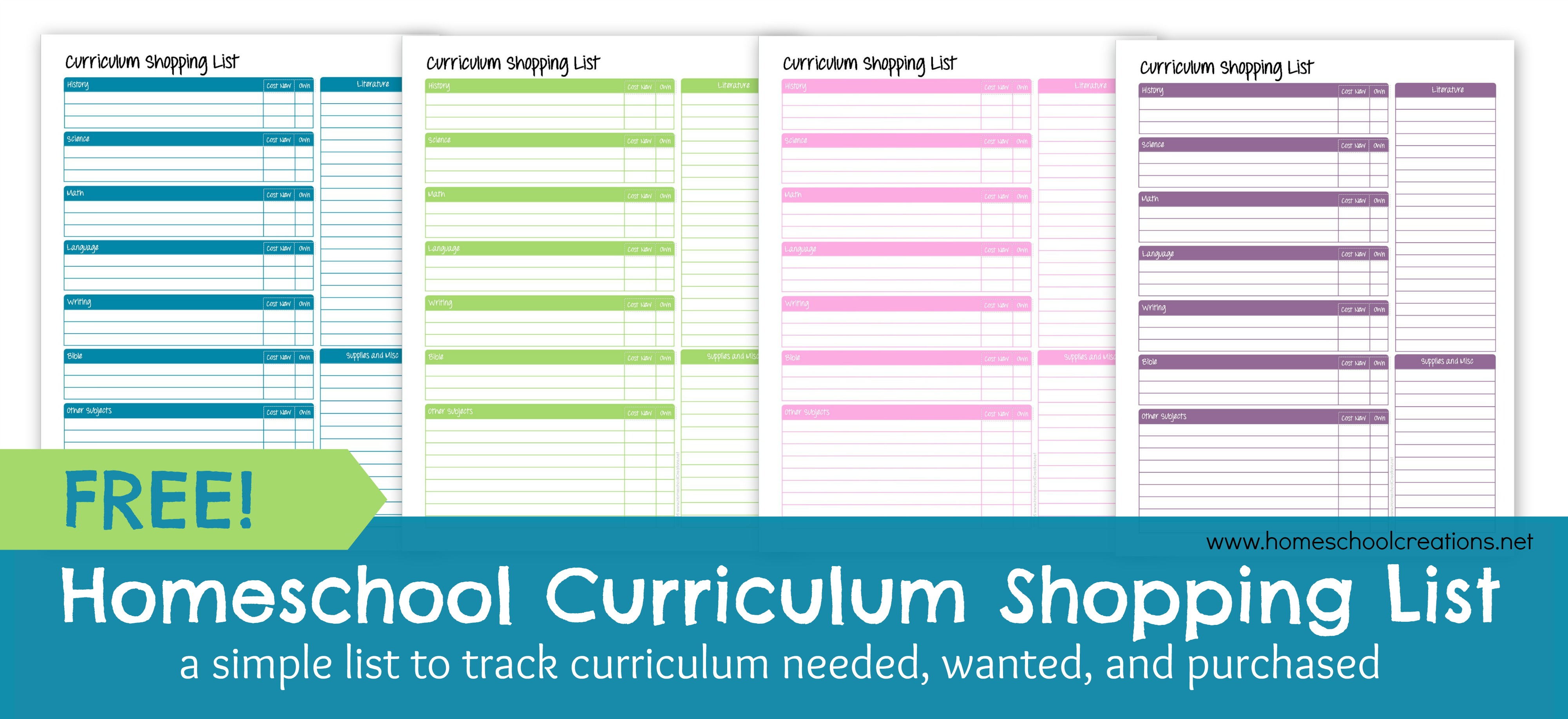 homeschool curriculum shopping list free printable