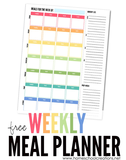 weekly meal planner plan a week s meals free printable