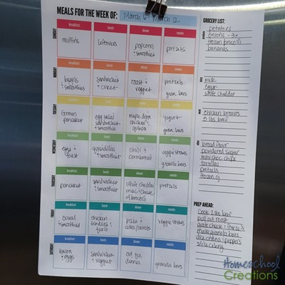 meal planning printable from Homeschool Creations-7