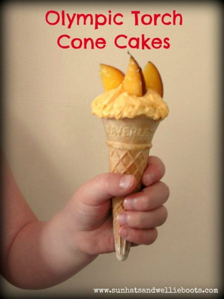 olympic torch cone cakes