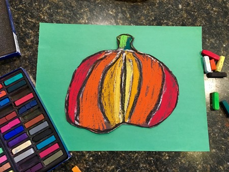 pumpkin pastel art from Home Art Studio project {%{% Homeschool Creations