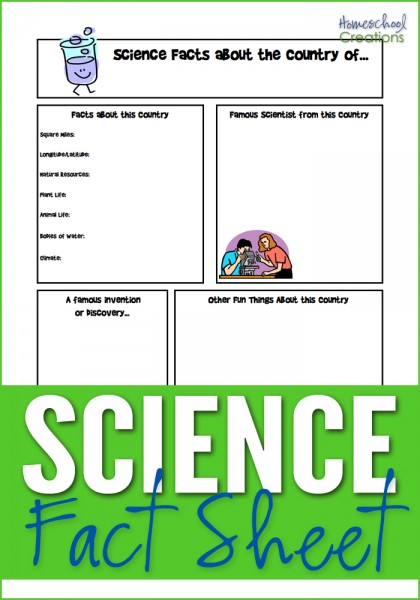 science fact notebooking sheet for geography studies