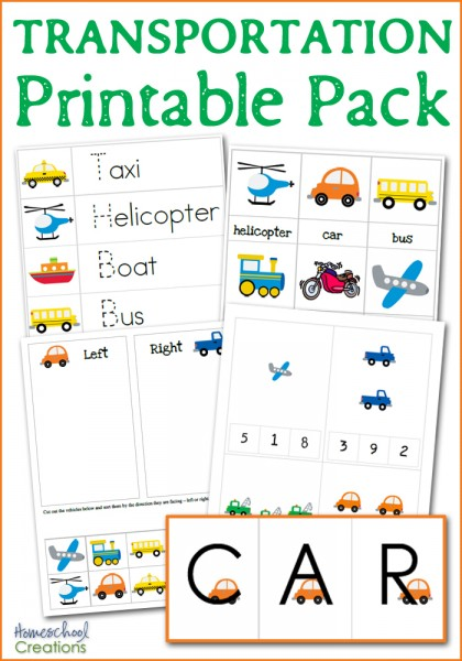 transportation printable pack from Homeschool Creations