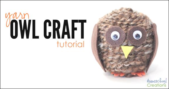 yarn owl craft tutorial from Homeschool Creations